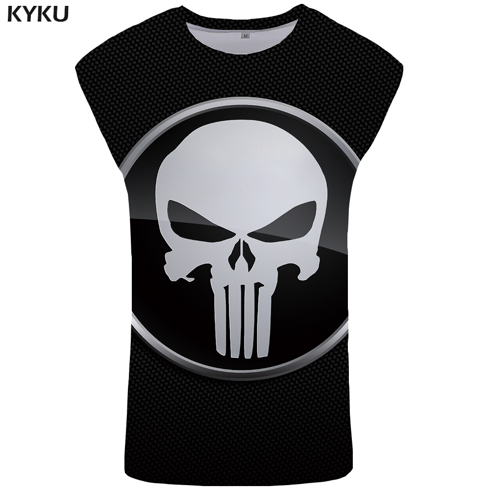 37b557f29976be KYKU Brand Skull Tank Top Men Punisher Singlet Black Ftness Clothing Rock  Mens Bodybuilding Stringer Vest