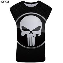 KYKU Brand Skull Tank Top Men Punisher Singlet Black Ftness Clothing Rock Mens Bodybuilding Stringer Vest Sleeveless Shirt