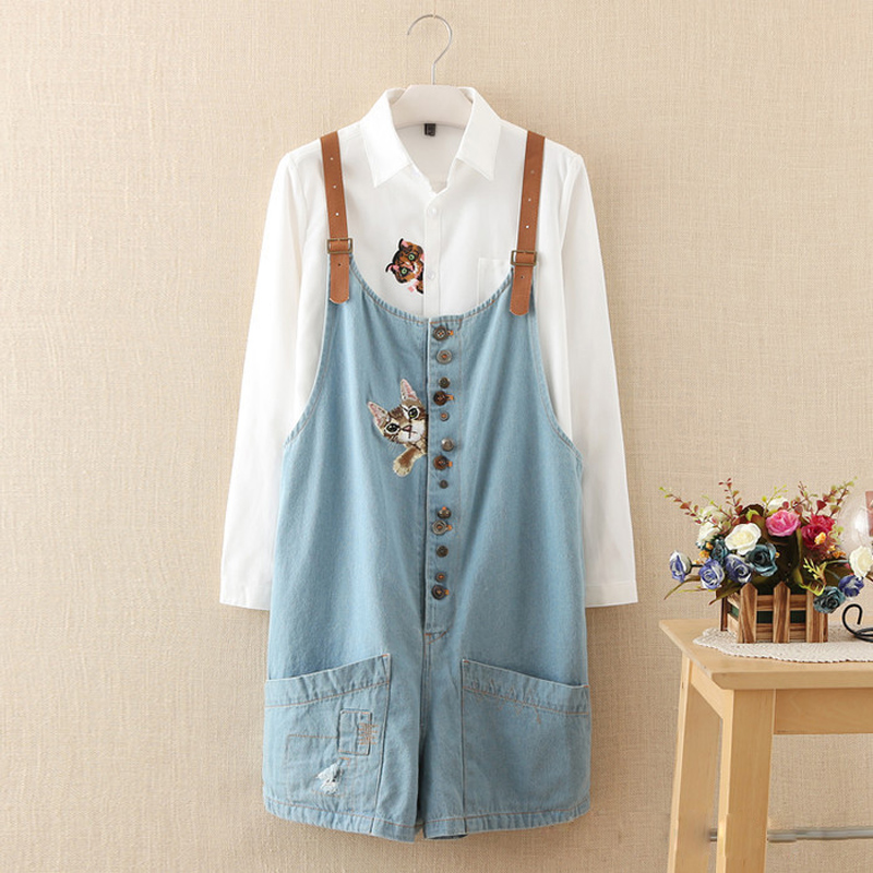 autumn winter new funny female  cats embroidery pattern denim jeans overalls women suspenders wide leg Bib boots short jumpsuit spring summer autumn winter women jeans overalls suspenders trousers spaghetti strap denim pants frock jumpsuit blue calca jeans
