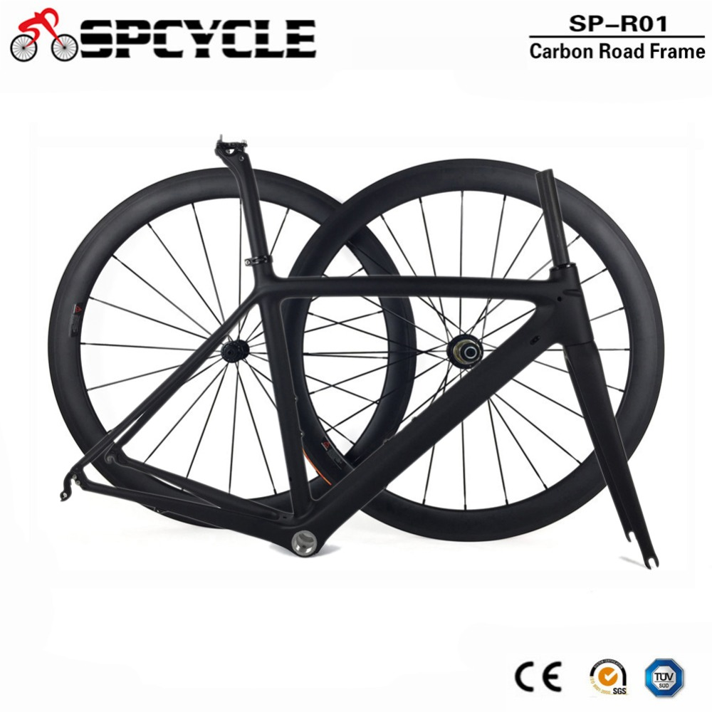 Spcycle 2018 Nouveau Ultra-Léger Carbone Vélo De Route Cadre Roues T1000 Carbone Route Vélo de Cadres Avec Tige de Selle Casque 50/53 /55 cm