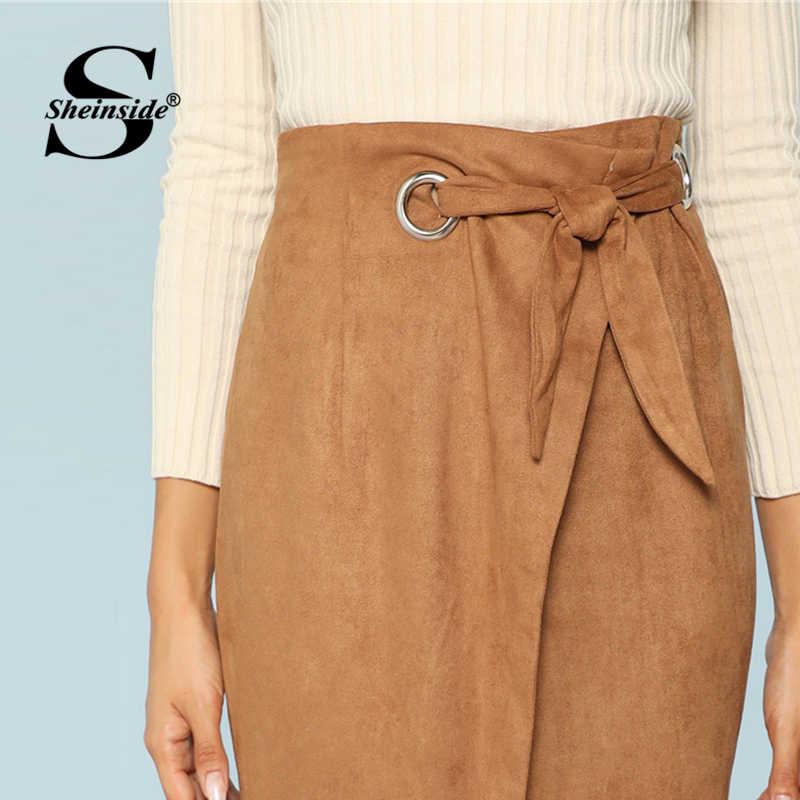 0e921f5e2b ... Sheinside Brown Tie Waist Bodycon Work Skirt Zip Back Mid-Calf Wrap  Knot Split Back ...