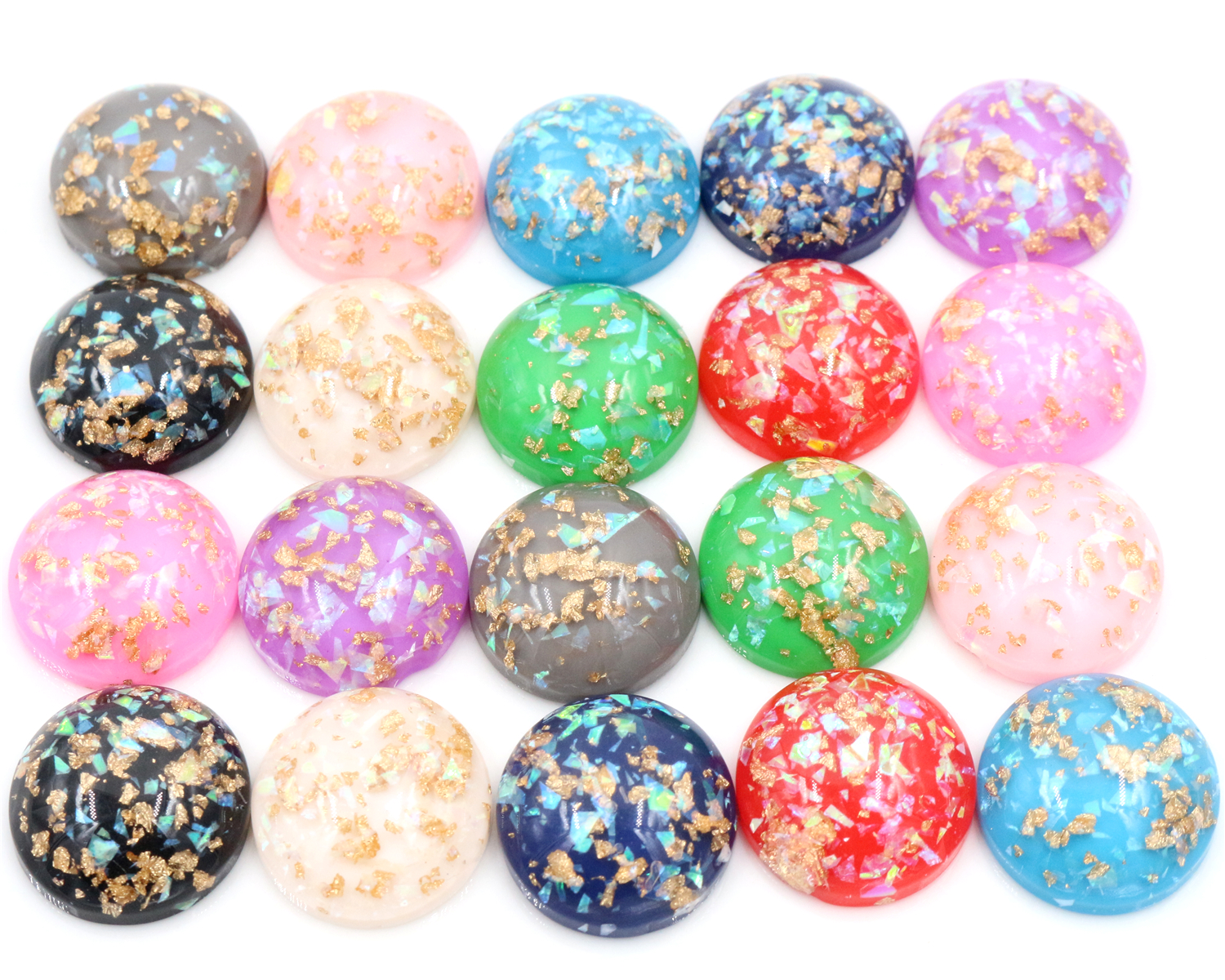 20mm 10pcs/Lot New Fashion Mix Color Built-in metal foil Flat back Resin Cabochons Cameo 8mm 10mm 12mm 14mm 16mm 18mm 20mm 7 size style 20pcs lot black shell color flat back resin cabochons cameo
