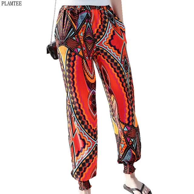 5b688522df029f Estate pantaloni Larghi del Piedino Pantaloni Femme Stampa Geometria  Colorata A Vita Alta Pantaloni Larghi Donne