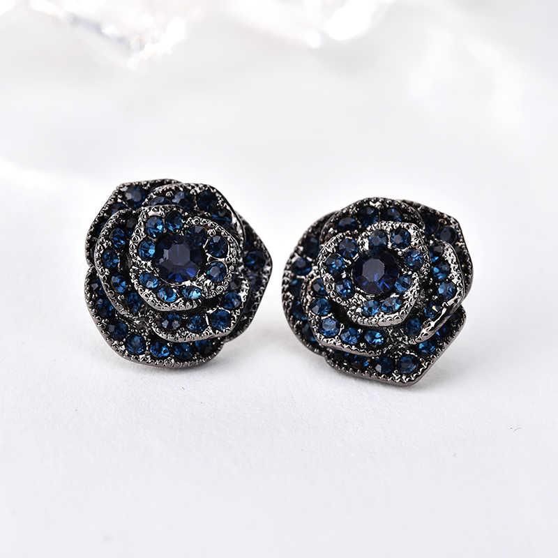 5cab2763b ... YANDA Fashion Retro Black Rose Stud Earrings Bijoux For Women Crystal  Flower Brinco Statement Wedding Party ...