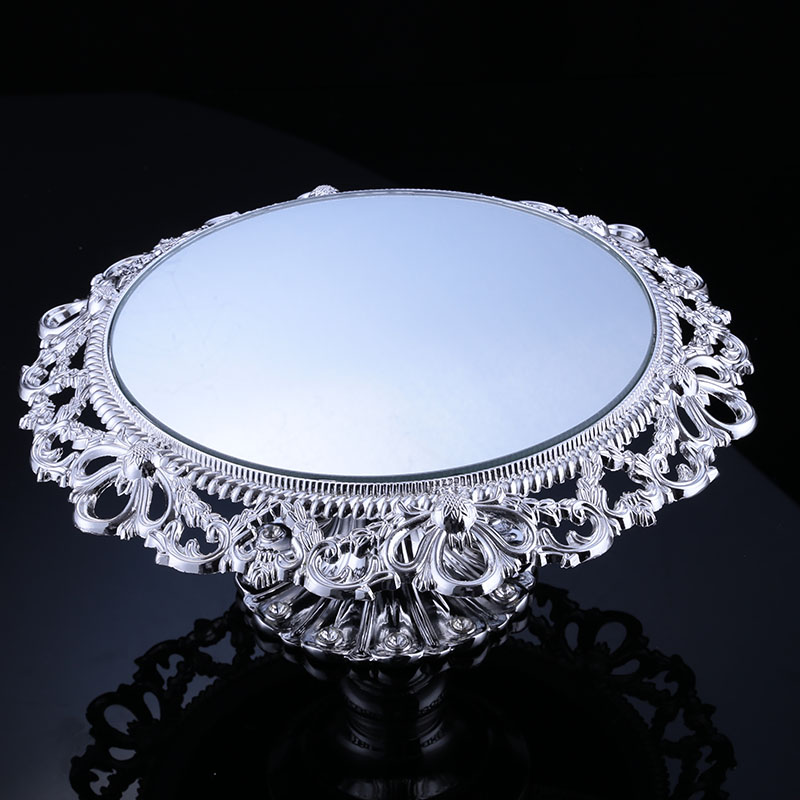 Miroir plaque de mariage plaque de verre décorative pour mariage Dessert gâteau miroir plateau de service plaque de mariage hôtel partie gâteau Stand