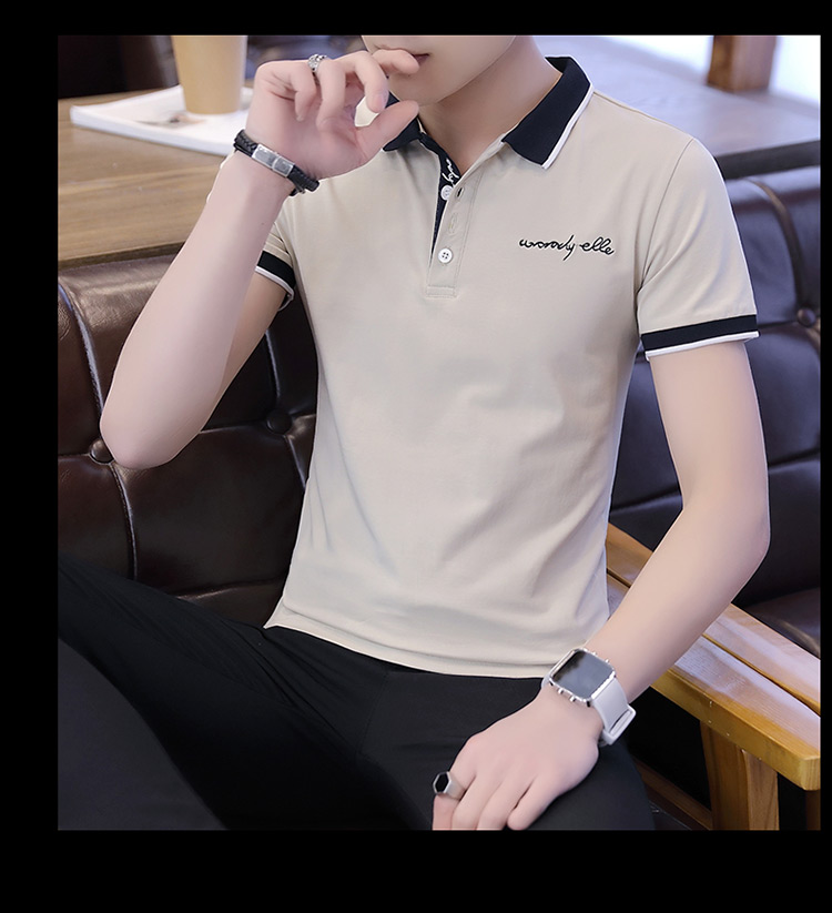 2019 men splicing t-shirts with short sleeves Comfortable in summer youth leisure lapel t-shirts 31