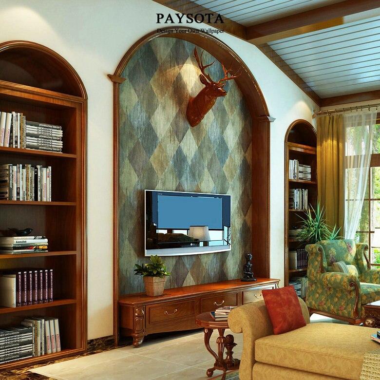 PAYSOTA American Pastoral Classic Wallpaper Diamond Imitation Leather Grain Brick Living Room Bedroom TV Setting Wall Paper Roll