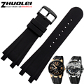 luxury brand 27mm black rubber watchband with stainless steel clasp watches straps 2 lug for men's bracelet