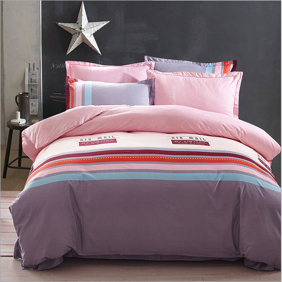 Stripe 100%Cotton beding set Queen size comfortable printing 4pcs beding sets Quilt cover + Bed sheet + 2 Pillowcase