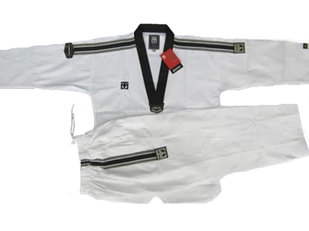 Top quality 90% cotton Taekwondo Master dobok Jujitsu karate training suit TKD uniform shirt + pants taekwondo sanda boxing training target black red size m