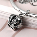 925 Sterling Silver Charm for Bracelets and Bangle Crown pendant with Cubic Zirconia Elegant Jewelry DIY Beads as Gift for Women