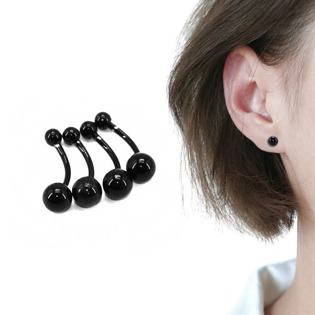 d72e89653 4Pcs Small Earrings For Women Men Black Fashion Jewelry Nose Belly Button  Punk Unisex Piercing Earing Studs Body Accessories