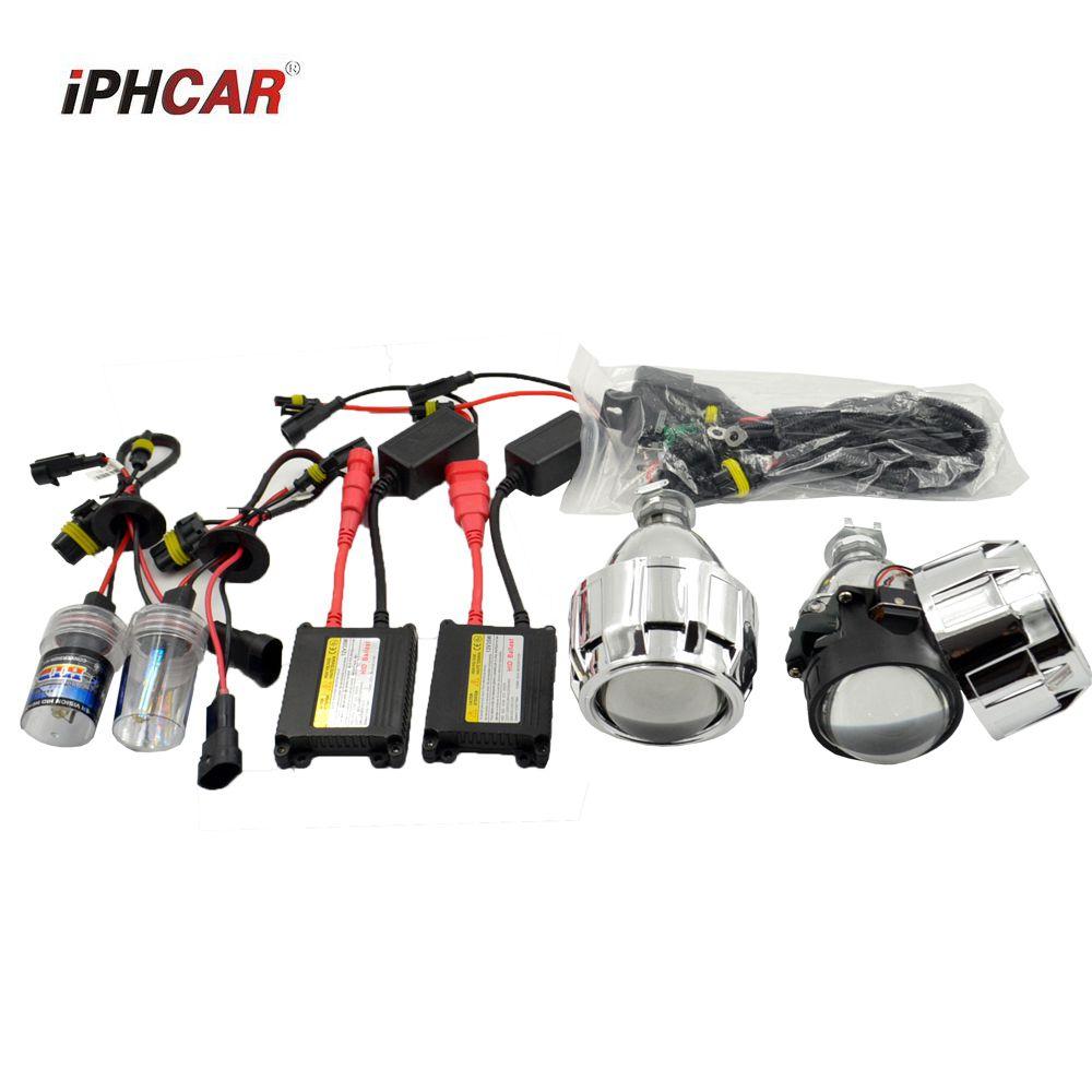 2pcs 2.5inch Bi xenon Bixenon bi-xenon Projector lens hid xenon kit H1 H4 H7 car hid projector lens headlight Headlamp 35W