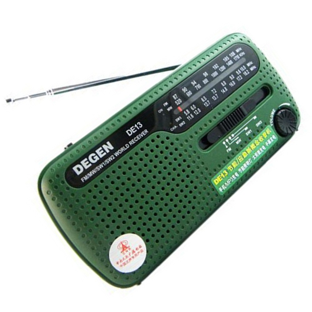 Degen Mini FM Radio DE13 FM MW SW Crank Dynamo Solar Emergency Portable World Receiver Radio