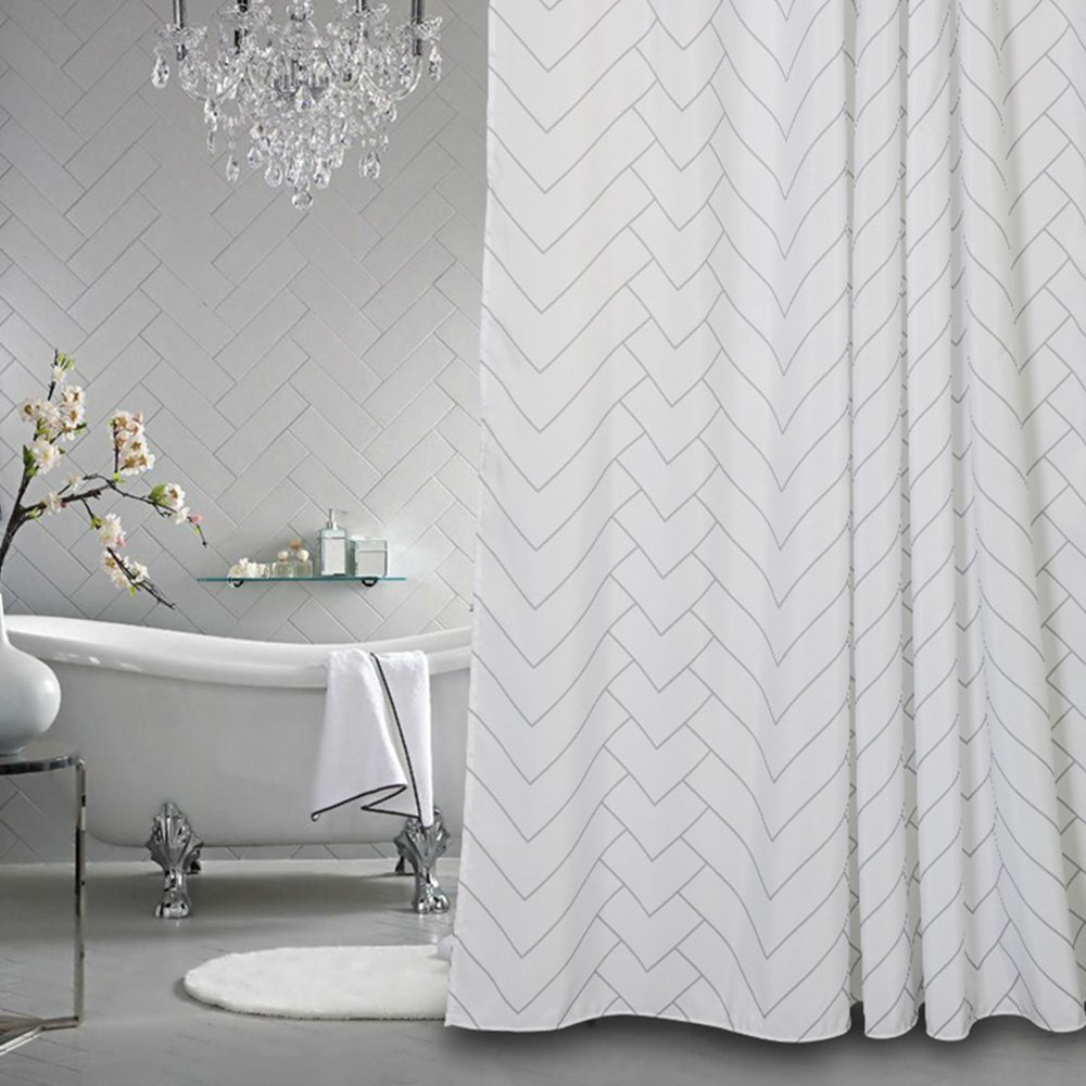 White Mold In Bathroom: Hotel Quality White Striped Mold Resistant Fabric Shower