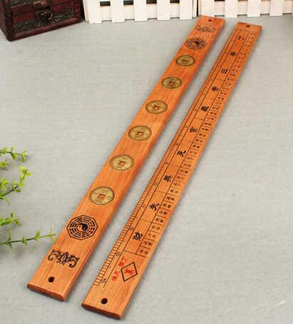 SCY 326 + + + Naturale legno di sei imperatore righello ornamenti lubanche Feng Shui legno carta dinglan piedi metri