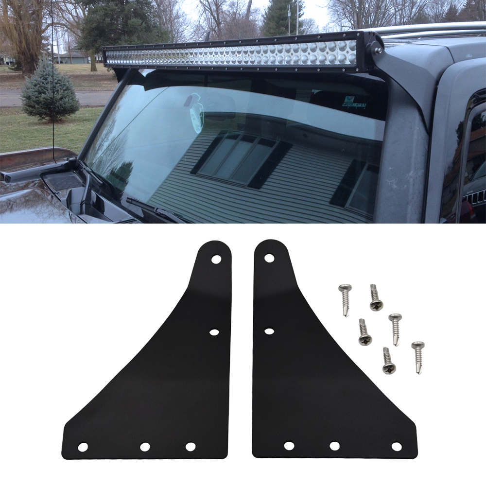 Upper Windshield 52 Inches Straight Or Curved LED Light Bar Mount Brackets Fits Hummer H3 (2006-2010) H3T (2009-2010)