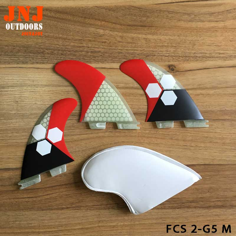 PERFECT fit standard fiberglass FCS II M G5 surfboard surfing fins FCS 2 thruster with honeycomb fitted surfboard fins fcs m g5 fins surf table surf fins with fcs g5 original bag