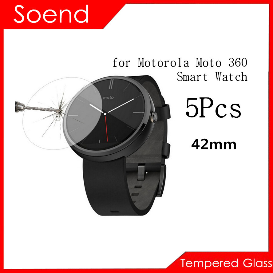 5Pcs Lot Tempered Glass Screen Protector For Motorola Moto 360 Watch 42mm font b SmartWatch b