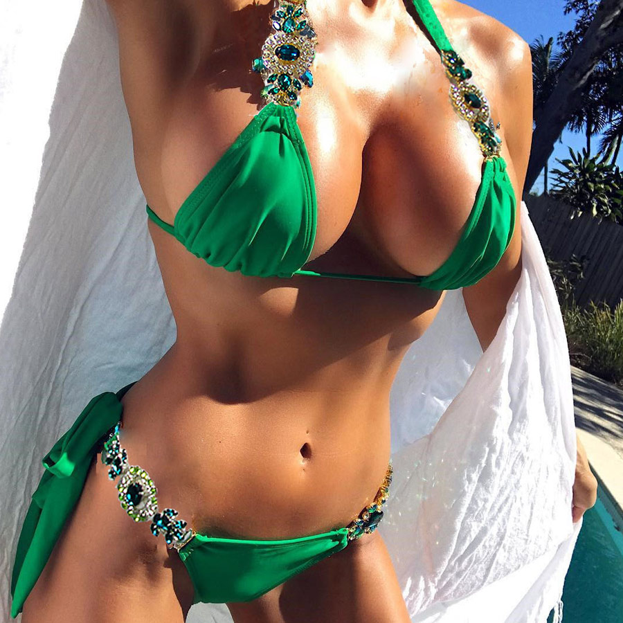 2018 Bandage Bikini Set Beachwer Bathing Suit Sexy Green Swimsuit Swimwear Push Up Jewelry Bikini Swimming Suit For Women Summer