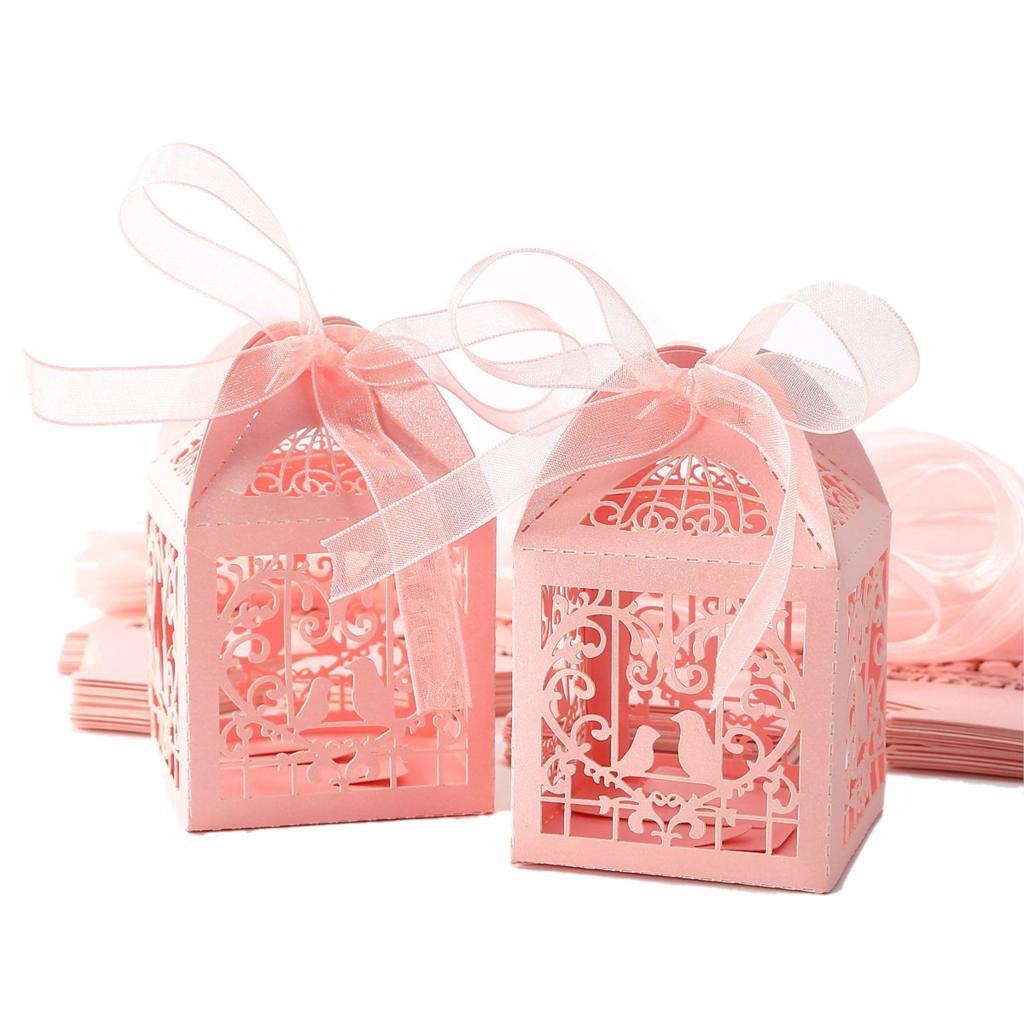 ᗚTfbc 25 unids dulces caja de dulces Pink corazón Aves para la boda ...