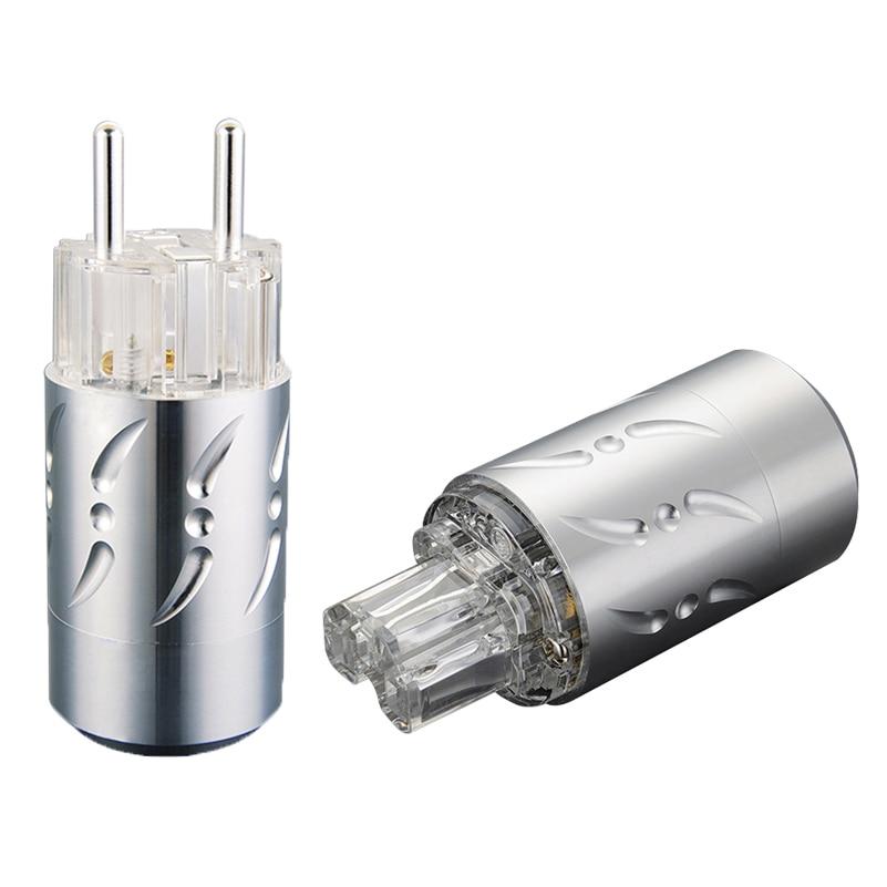 Viborg Aluminium Pure Copper Silver Plated Schuko EU Power connector IEC Plug