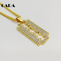 CARA New Iced Out Bling Bling Full Rhinestones Shaver Knife Blade Necklace Pendant Mens Barber Necklace