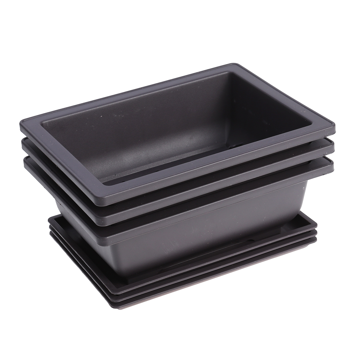 3pcs Plastic Flowerpot Square Flower Bonsai Bowl Nursery Basin Pots Plant Tray With Pallets For Garden Decoration
