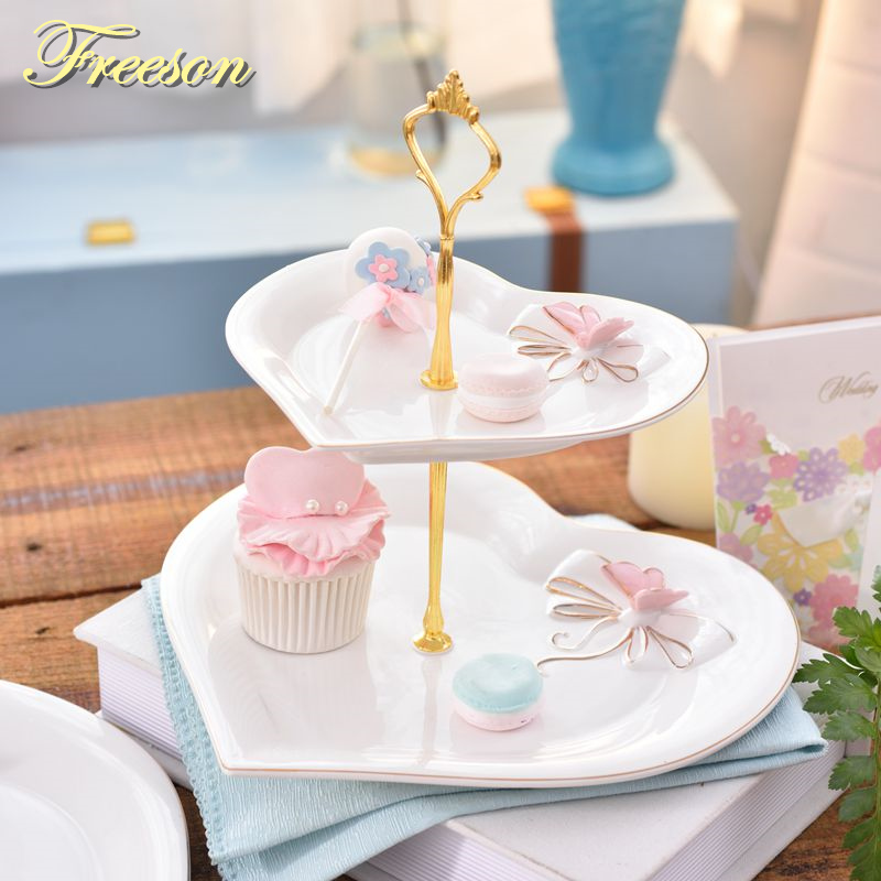 Bird Butterfly Double Decker Plates Pastoral Fruit Dishes Cake Plate Candy Dish Ceramic Tray Porcelain Tableware DecorationBird Butterfly Double Decker Plates Pastoral Fruit Dishes Cake Plate Candy Dish Ceramic Tray Porcelain Tableware Decoration