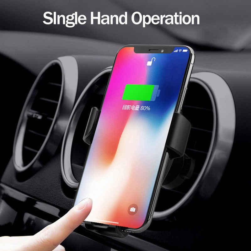 Nowy uchwyt samochodowy bezprzewodowa ładowarka qi dla iPhone XS Max X XR 8 szybkie bezprzewodowe ładowanie telefonu samochodowego uchwyt na samsunga uwaga 9 S9 S8