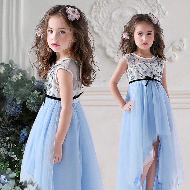 2017 Tulle Vintage Princess Floral Hand Make Long Flower Girls Dresses A-Line Ruffle Mother Daughter Dresses For Girls Party ruffle trim a line dress