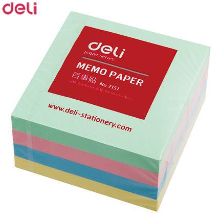 Deli Brand 1 Pack 400 Sheets Diary Stickers Self-adhesive Sticky Notes 76x76mm 4 Colors Memo Pads For Office School 20D7151