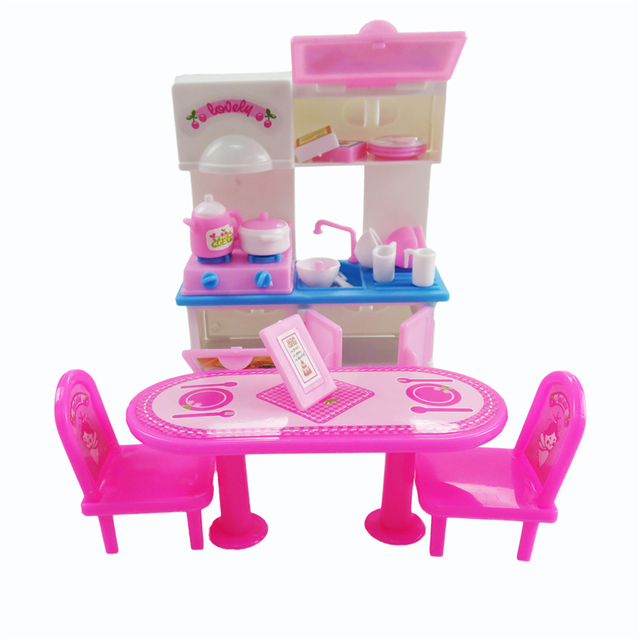 Elegant 20 Pcs/ Set Dolls Dining Table Kitchen Furniture Dinnerware Cabinets Barbie  Doll Tableware Accessories Girl
