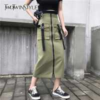 TWOTWINSTYLE Army Green Skirt High Waist Zipper Big Pocket Patchwork Bodycon Midi Pencil Skirts Summer Fashion Casual Clothing