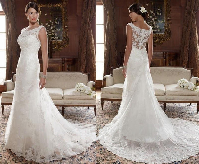 The New High Necked Trailing Lace Wedding Dress Custom Size 4681012141618
