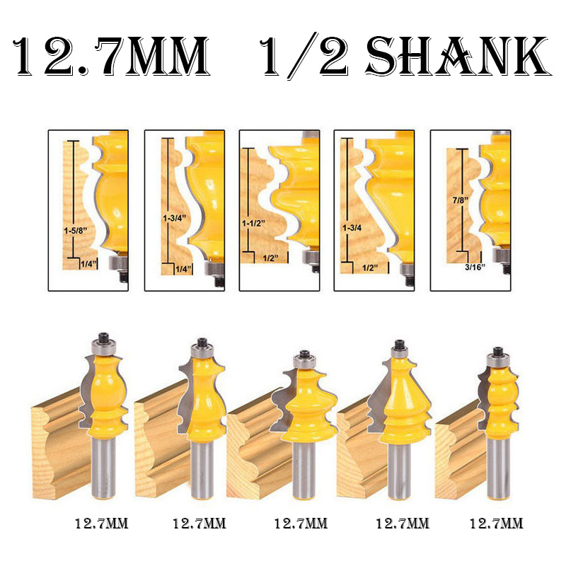 5pc Set Woodworking Carving Router Bits 12 7mm Groove and Tongue Engraving Milling Cutter 1 2