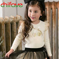 2016 New Autumn Spring Cute Girls T-shirt Clothing Long Sleeve O-neck Bow Ruffles Decoration Fashion Girls Children T-shirts