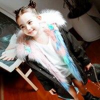 Высокое качество детская eather кроличий мех пальто Зимняя мода Для мальчиков и девочек с капюшоном шерсть большой меховой воротник Плетеный