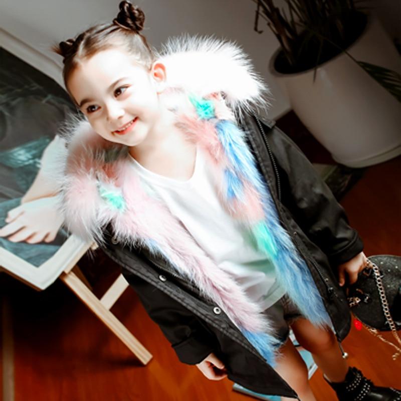 цены на High quality children's eather rabbit fur coat winter fashion boy girl hooded wool large fur collar braided hair jacket 18M03