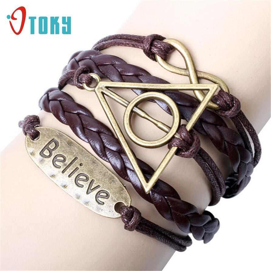 Браслеты OTOKY модные треугольные круглые плетеные браслеты на запястье кожаные ювелирные изделия Apr22