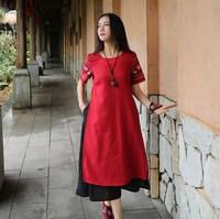 DUNI Spring Summer Women O Neck Short Sleeve Embroidery Pocket Loose Plus Size Cotton Linen Long