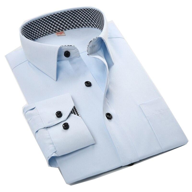 Fashion Style Men Shirt Solid Color Long Sleeve Mens Casual Shirts Working Dress Shirt Slim Fit camisa social masculina hombre