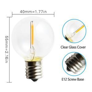 Image 4 - 25 PCS G40 E12 1 W LED Luzes Da Corda Lâmpada de Substituição 220 V 110 V Branco Quente 2700 K LED lâmpadas Substituir G40 5 W 7 W Lâmpadas Incandescentes