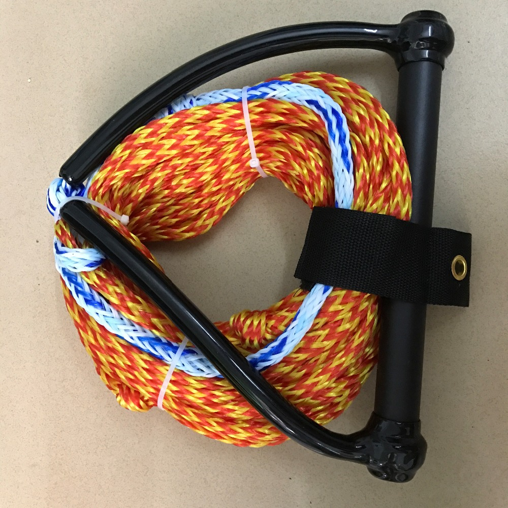 Magideal Double Handle Water Skiing Wakeboard Tow Harness Rope 1 Ski Section 75 Feet Red Orange 23m