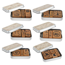 Retro Vintage Stamps for Scrapbooking DIY Happy Time Style Diary Wooden Rubber Stamp with Iron Box