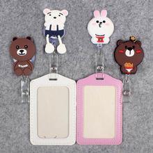 Little Rabbit Hospita Badge Scroll Nurse Office Reel Cute Bear Scalable Entrance School Guard CardID PU Girl Card Holder