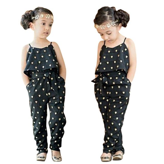71aebe476 Summer Kids Girls Jumpsuit Heart Pattern Romper Trousers With Belt ...