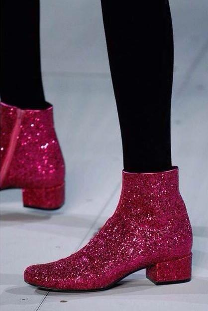 Round Toe Ladies Zipper Martin Boots Hot Pink Bling Glitter Women Fashion  Ankle Boots Low Heel 57b10344dd74
