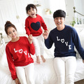 mother and daughter clothes children autumn new long sleeve t-shirt family pack Couples clothing red