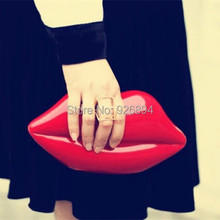 European and American fashion sexy lips glamor ladies clutch evening bags acrylic handbag chain shoulder bag purse wallet